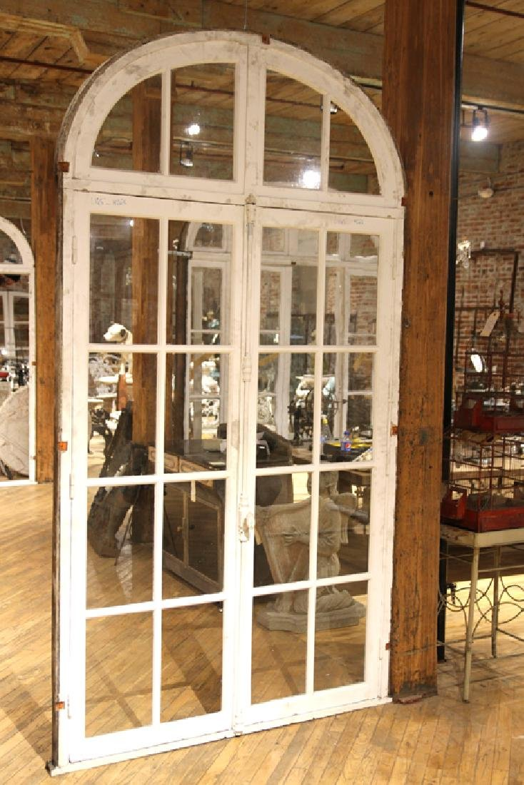 PAIR ANTIQUE PAINTED FRENCH DOORS WITH TRANSOM