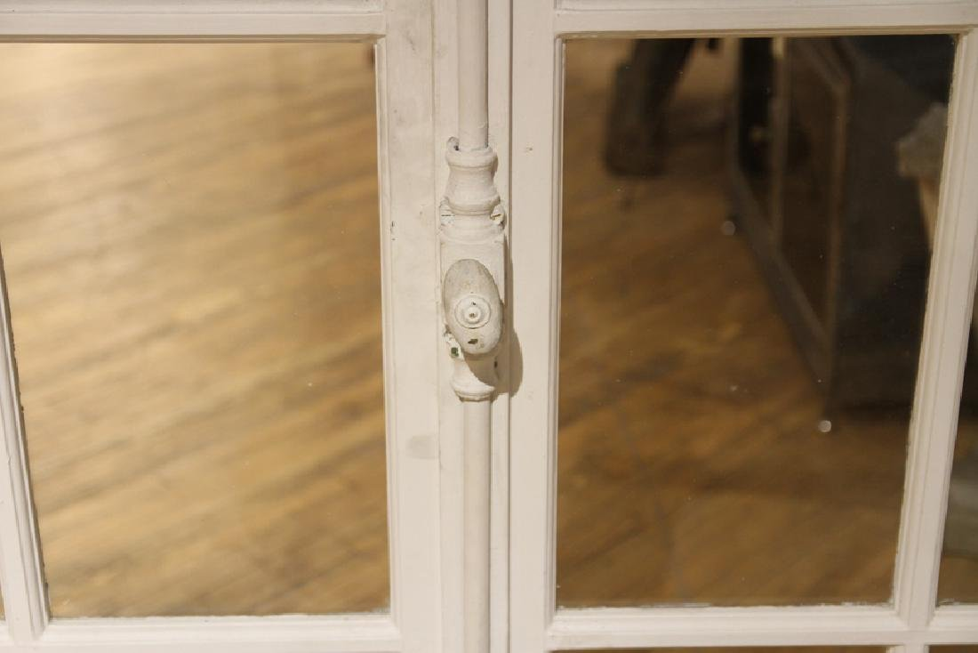 PAIR ANTIQUE PAINTED FRENCH DOORS WITH TRANSOM - 3