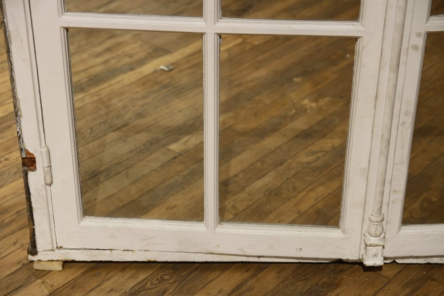 PAIR ANTIQUE PAINTED FRENCH DOORS WITH TRANSOM - 4