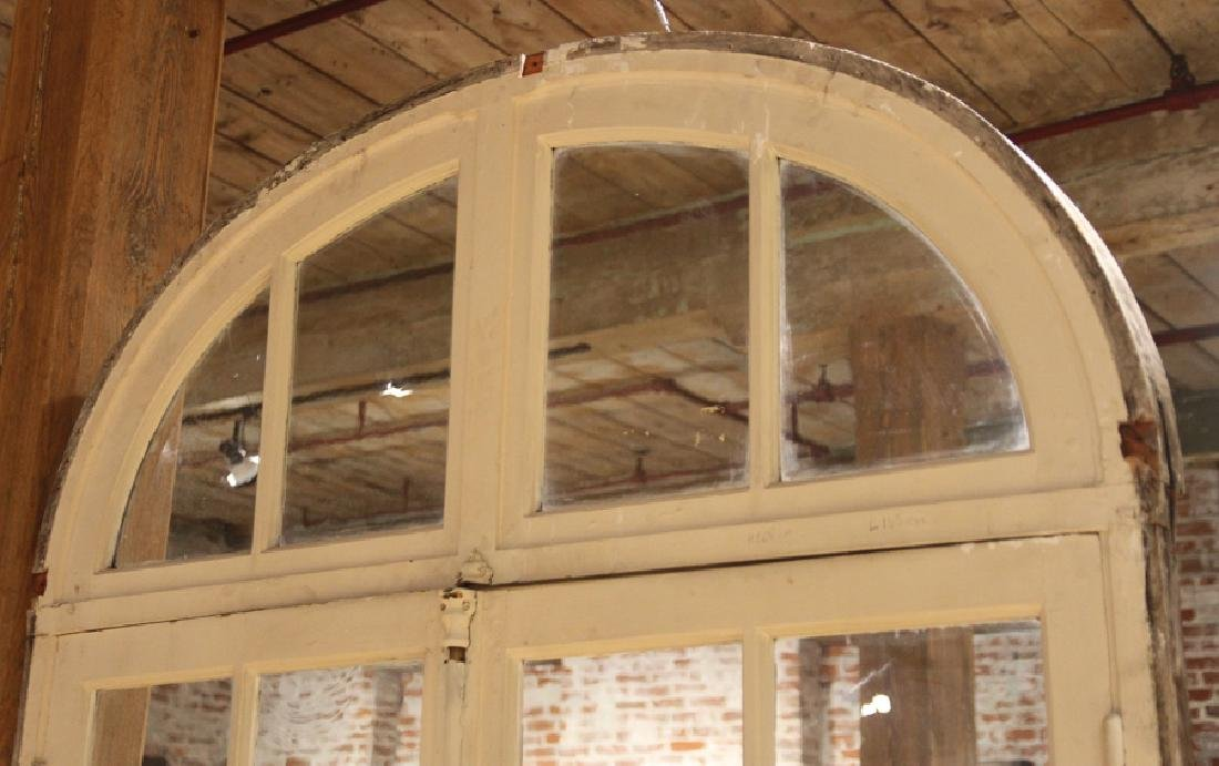 PAIR ANTIQUE PAINTED FRENCH DOORS WITH TRANSOM - 2