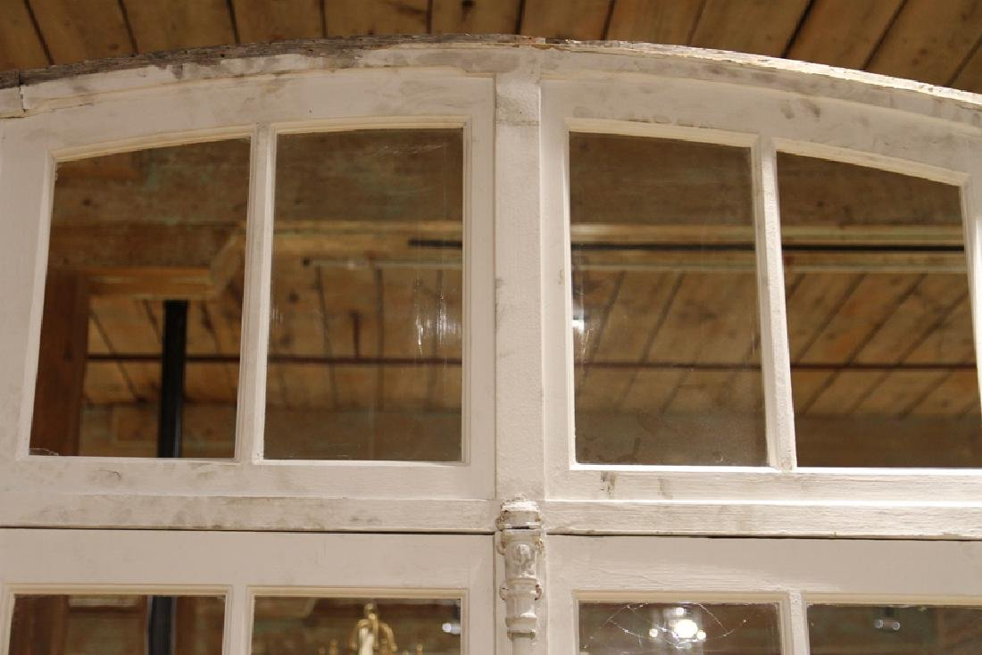 PAIR ANTIQUE FRENCH DOORS TRANSOM AND SIDELIGHTS - 2