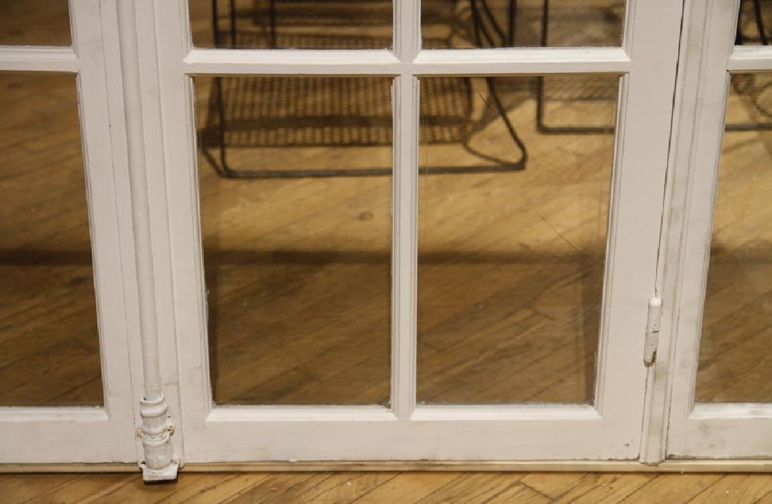 PAIR ANTIQUE FRENCH DOORS TRANSOM AND SIDELIGHTS - 4