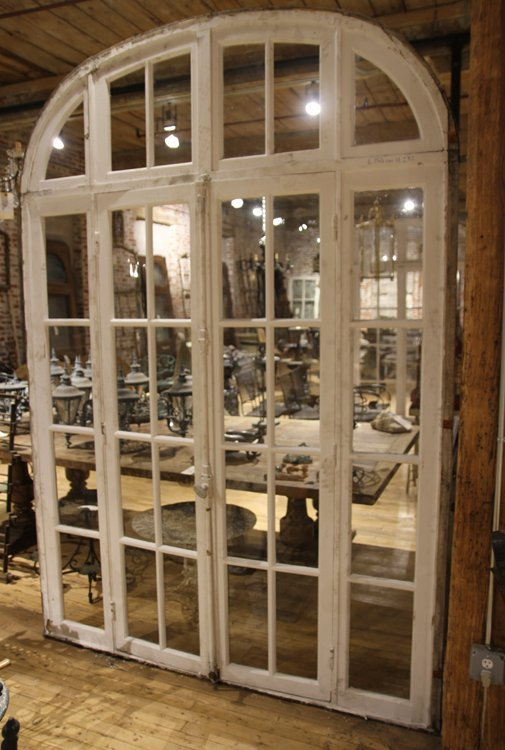 PAIR ANTIQUE FRENCH DOORS TRANSOM AND SIDELIGHTS