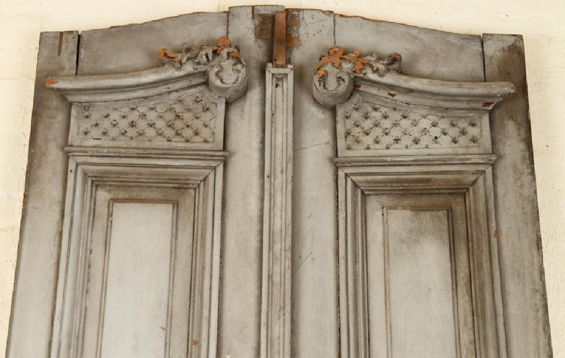PAIR PAINTED RAISED PANEL DOORS CIRCA 1900 - 2