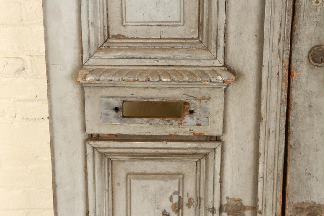 PAIR PAINTED RAISED PANEL DOORS CIRCA 1900 - 4