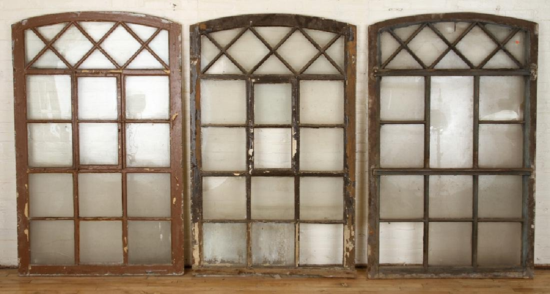 SET 3 PAINTED WOOD GLASS ARCH TOP WINDOW PANELS