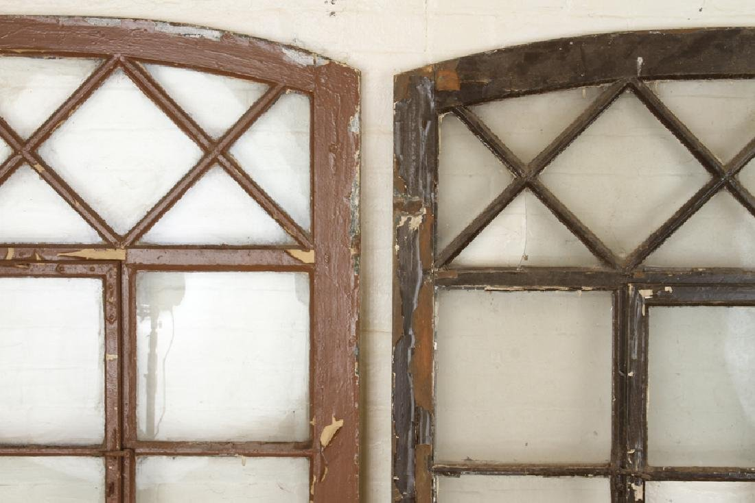 SET 3 PAINTED WOOD GLASS ARCH TOP WINDOW PANELS - 2