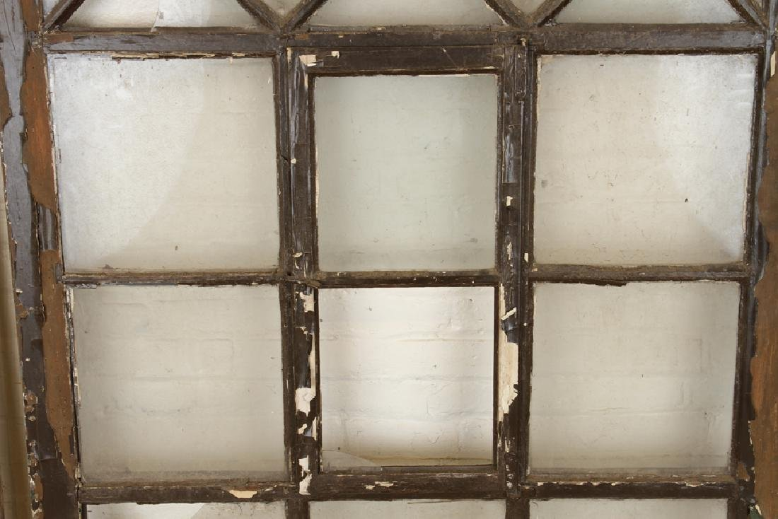SET 3 PAINTED WOOD GLASS ARCH TOP WINDOW PANELS - 3