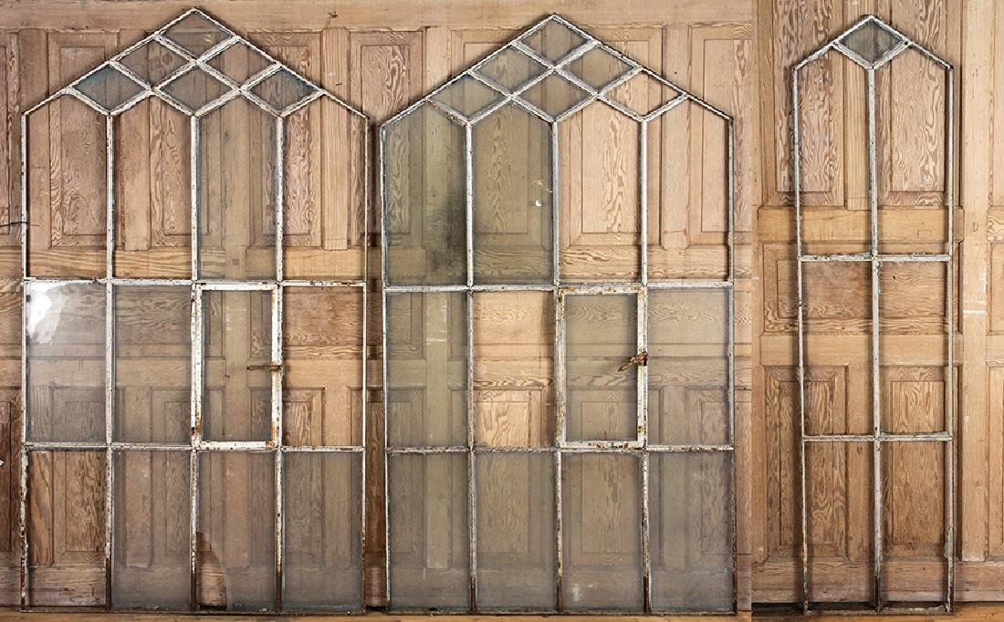 LOT OF 3 WINDOW FRAMES GOTHIC INSPIRED C.1890