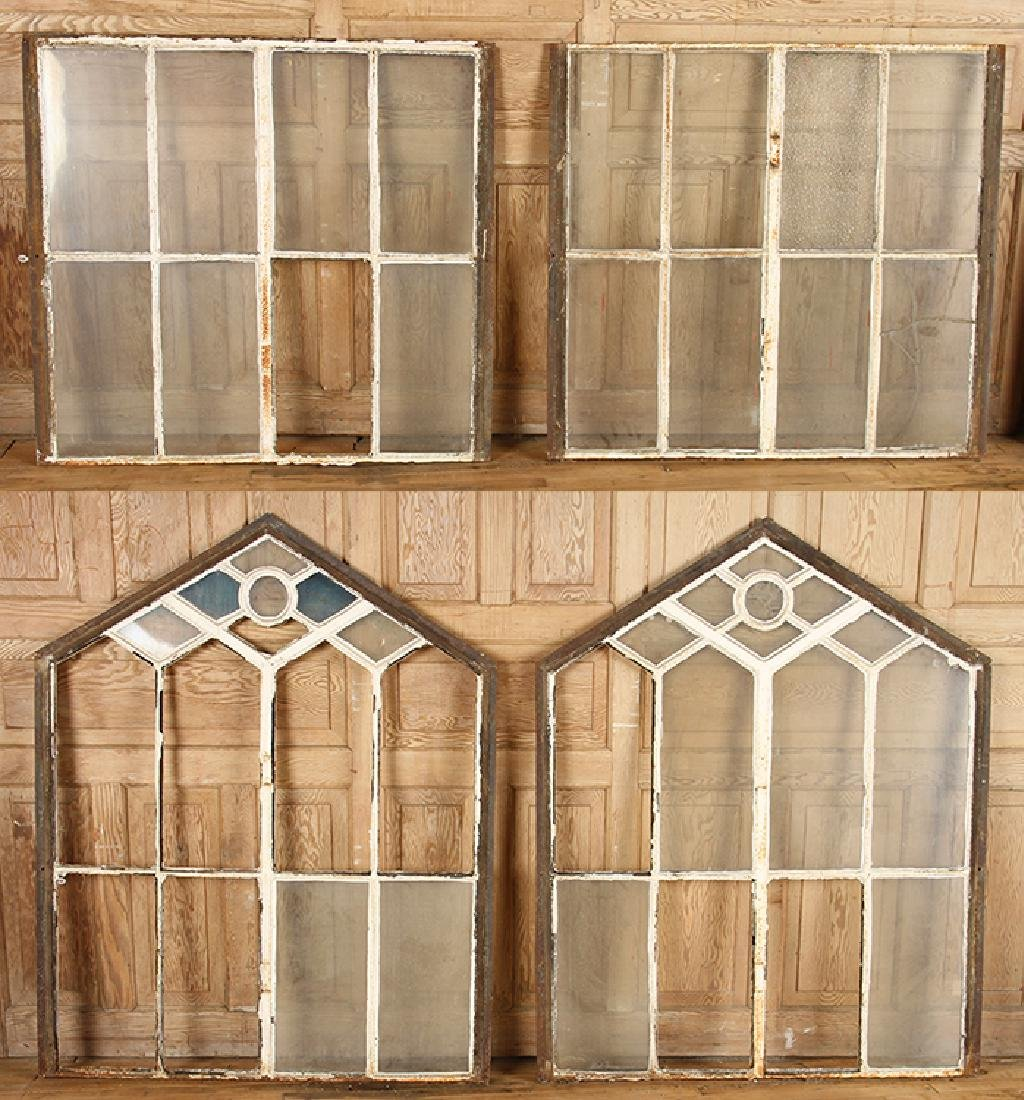 4 DOUBLE HUNG CAST IRON WINDOW FRAMES GOTHIC C.1890