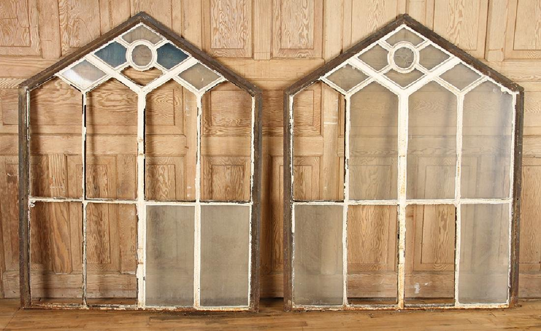 4 DOUBLE HUNG CAST IRON WINDOW FRAMES GOTHIC C.1890 - 2