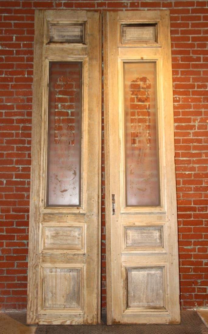 PAIR FRENCH DOORS ETCHED GLASS CIRCA 1880