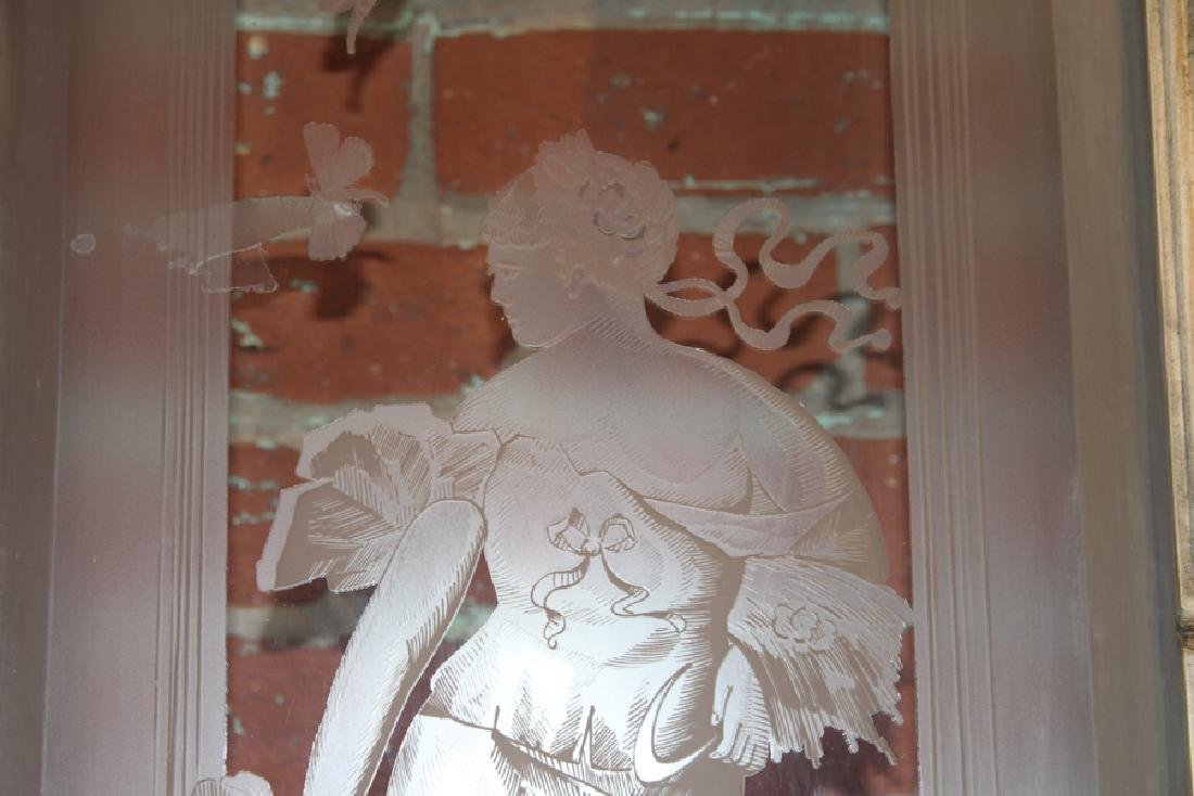 PAIR FRENCH DOORS ETCHED GLASS CIRCA 1880 - 3