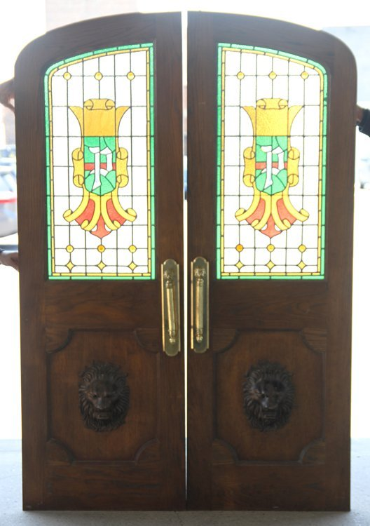 PAIR OF LEADED AND STAINED GLASS LIBRARY DOORS