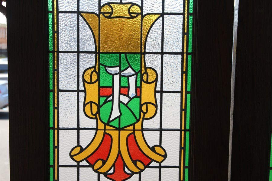 PAIR OF LEADED AND STAINED GLASS LIBRARY DOORS - 2