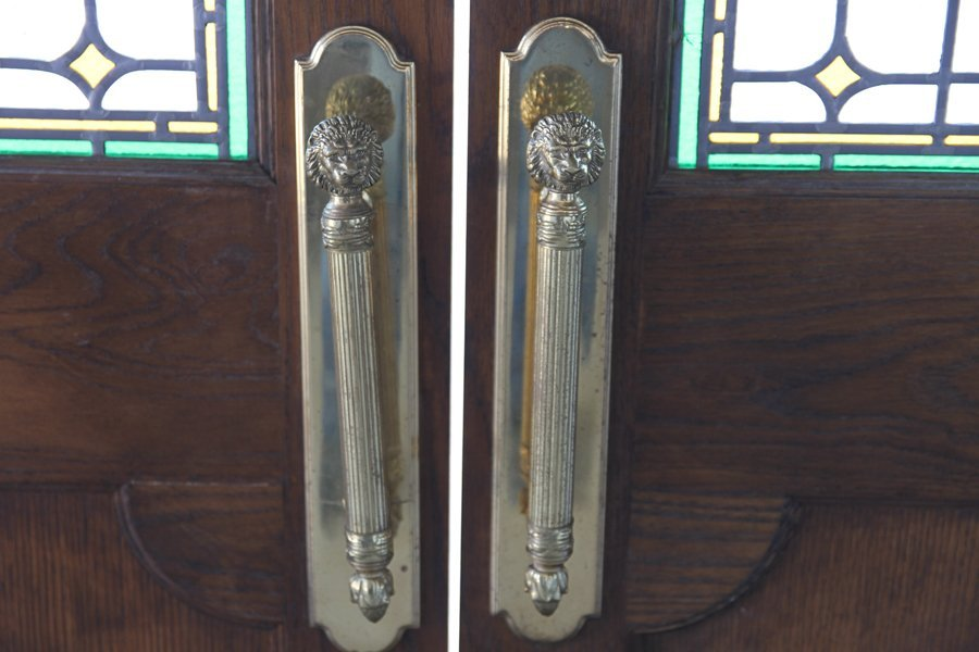 PAIR OF LEADED AND STAINED GLASS LIBRARY DOORS - 3