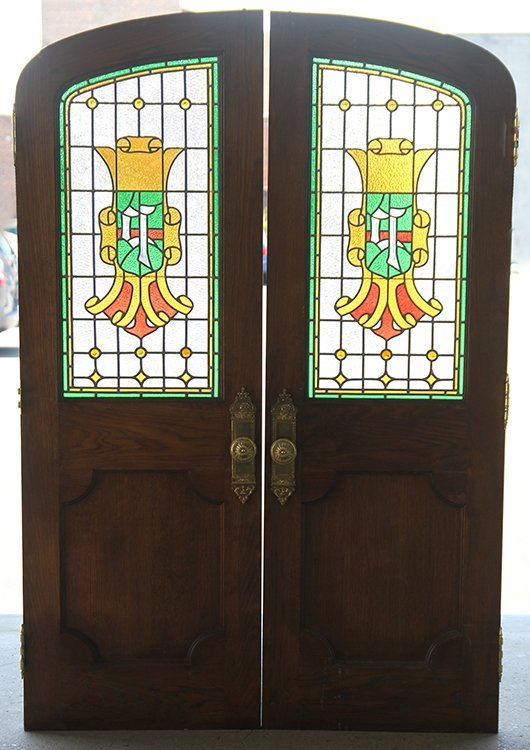 PAIR OF LEADED AND STAINED GLASS LIBRARY DOORS - 6