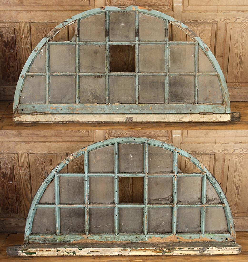 PAIR 19TH CENTURY ARCHED TRANSOM WINDOWS