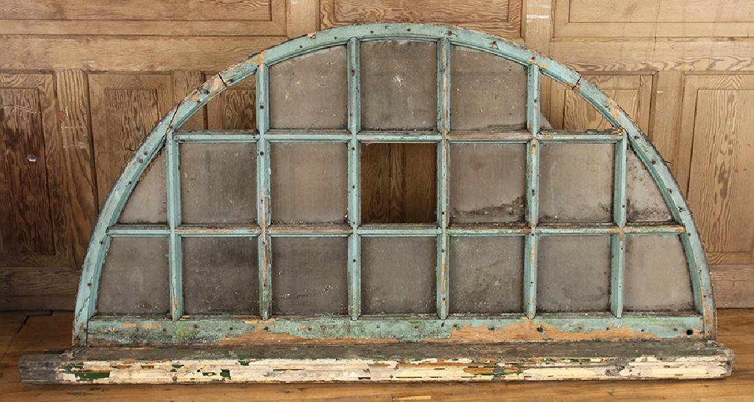 PAIR 19TH CENTURY ARCHED TRANSOM WINDOWS - 2