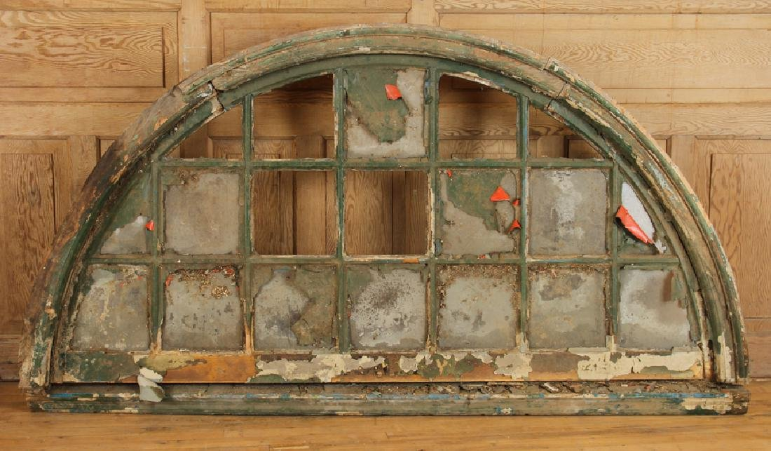 PAIR 19TH CENTURY ARCHED TRANSOM WINDOWS - 5