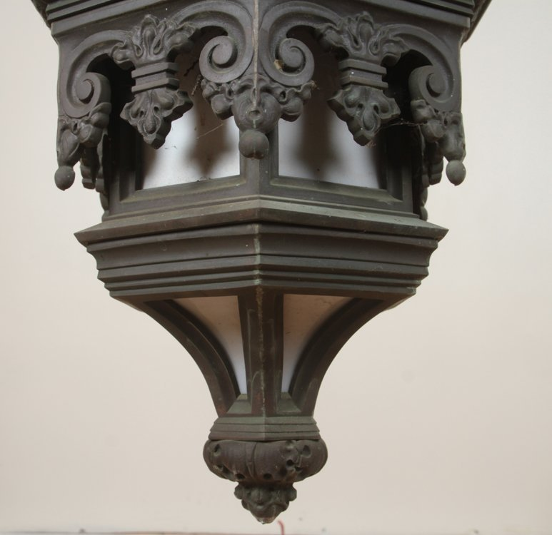 GOTHIC STYLE ANTIQUE BRONZE LANTERN C.1900 1 of a pair - 4