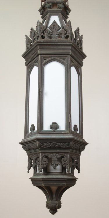 GOTHIC STYLE ANTIQUE BRONZE LANTERN C.1900 1 of a pair