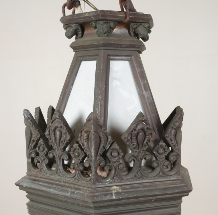 GOTHIC STYLE ANTIQUE BRONZE LANTERN C.1900 1 of a pair - 2