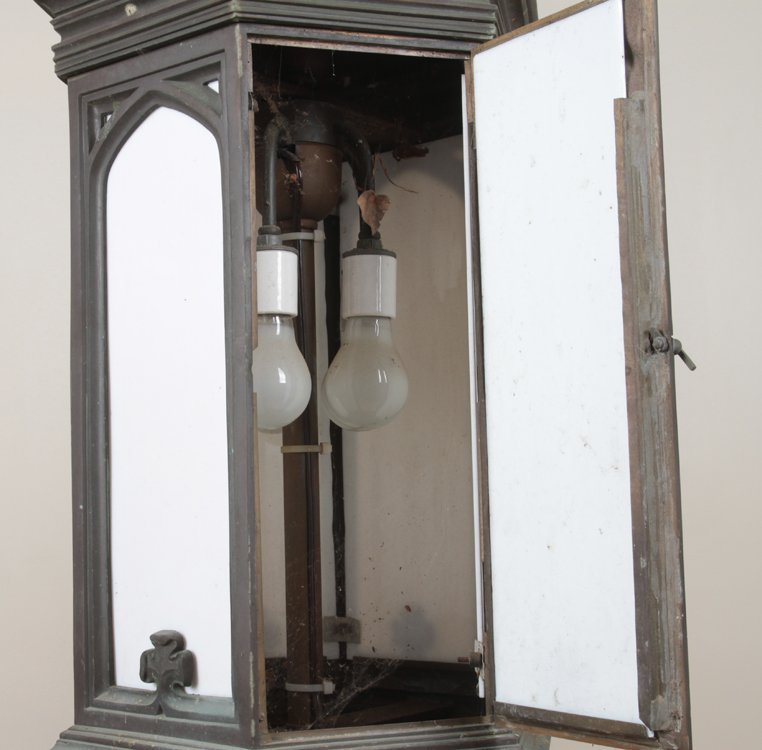 GOTHIC STYLE ANTIQUE BRONZE LANTERN C.1900 1 of a pair - 3