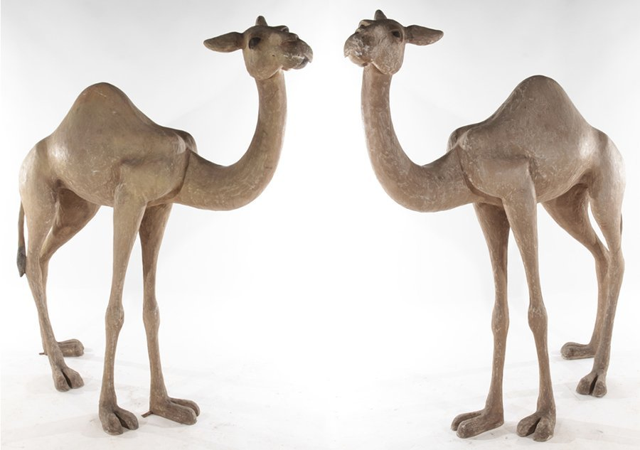 PAIR OF STANDING COMPOSITE CAMELS