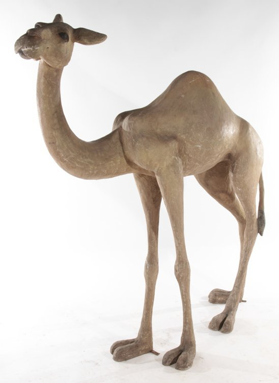 PAIR OF STANDING COMPOSITE CAMELS - 2