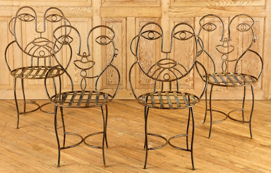 GREAT SET OF 4 IRON GARDEN CHAIRS
