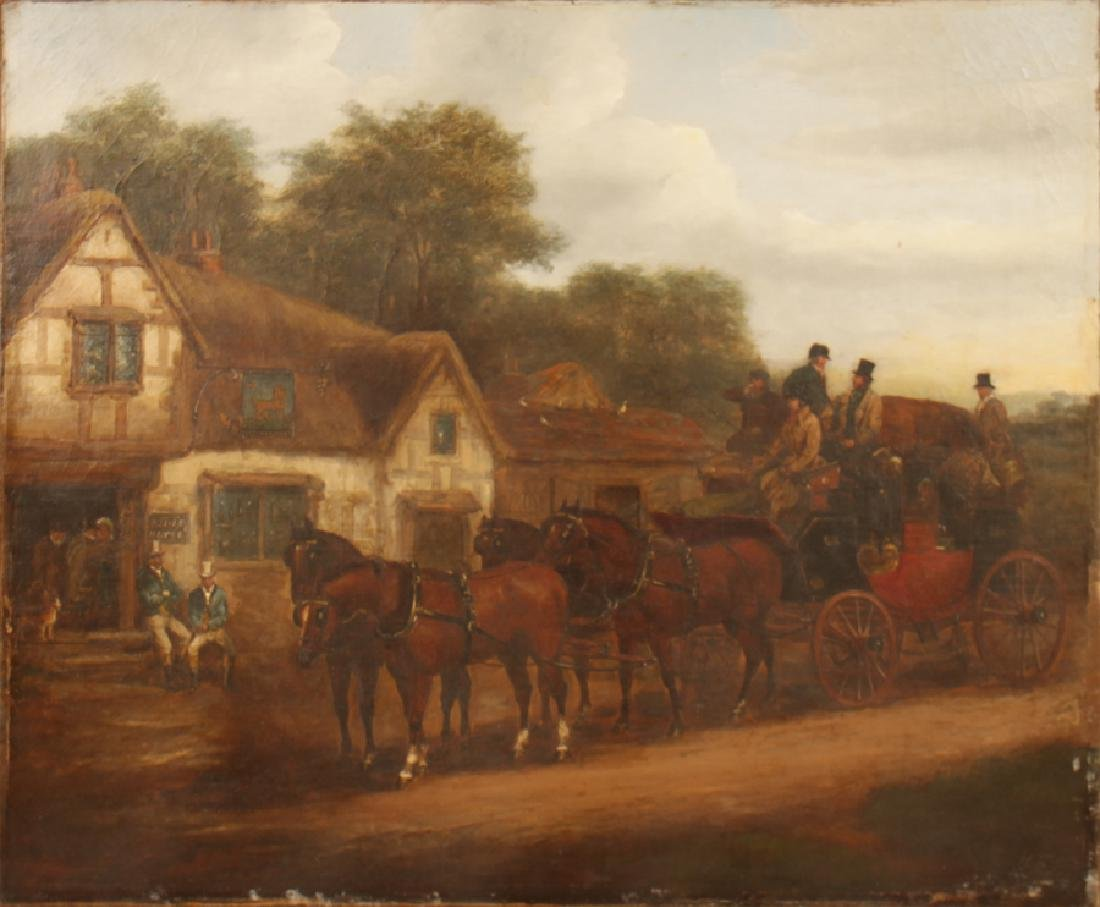 BRITISH SCHOOL HORSE DRAWN CARRIAGE OIL ON CANVAS