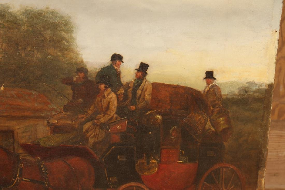 BRITISH SCHOOL HORSE DRAWN CARRIAGE OIL ON CANVAS - 3
