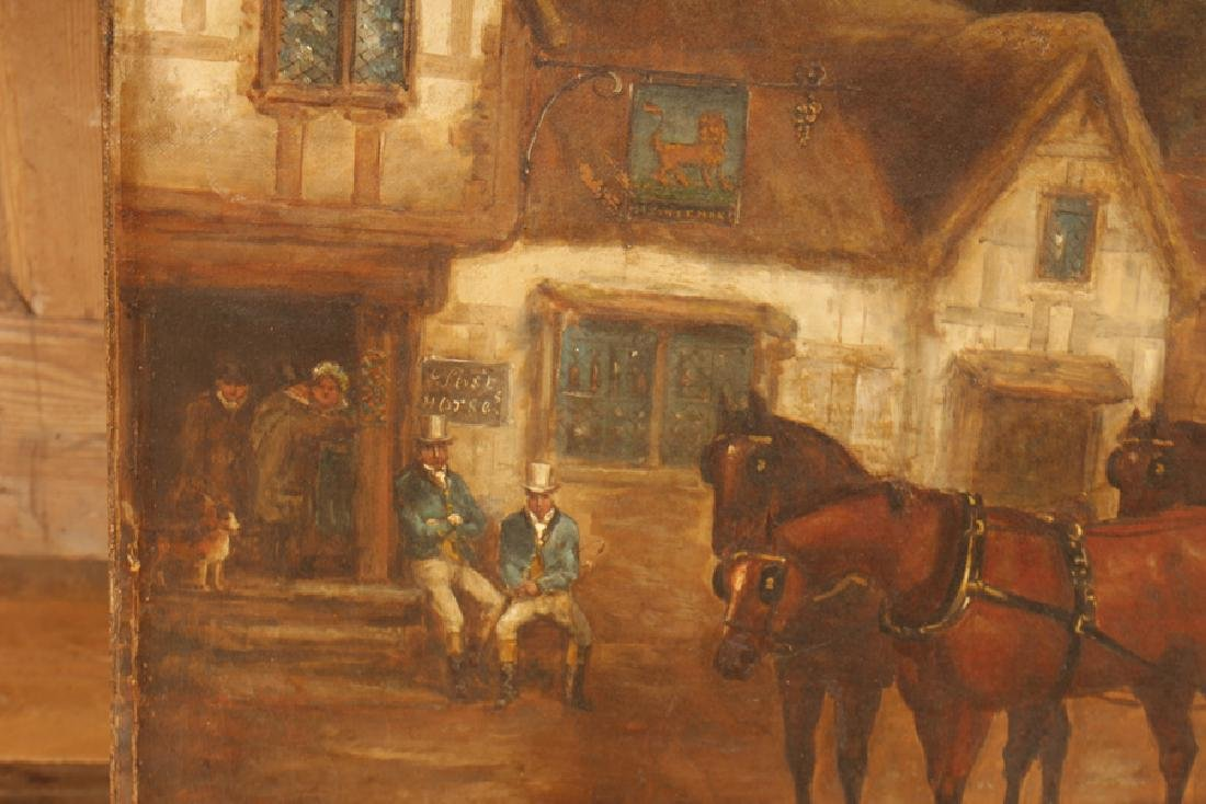 BRITISH SCHOOL HORSE DRAWN CARRIAGE OIL ON CANVAS - 4