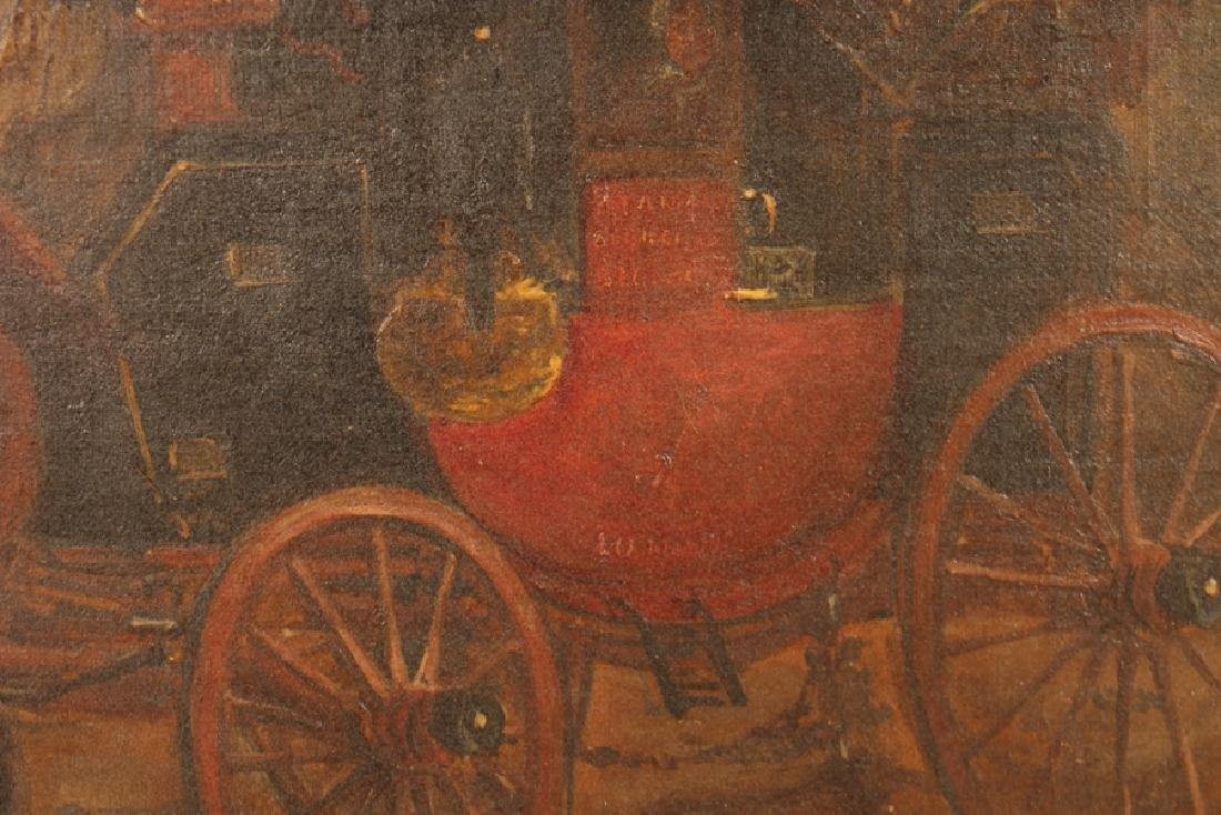 BRITISH SCHOOL HORSE DRAWN CARRIAGE OIL ON CANVAS - 5