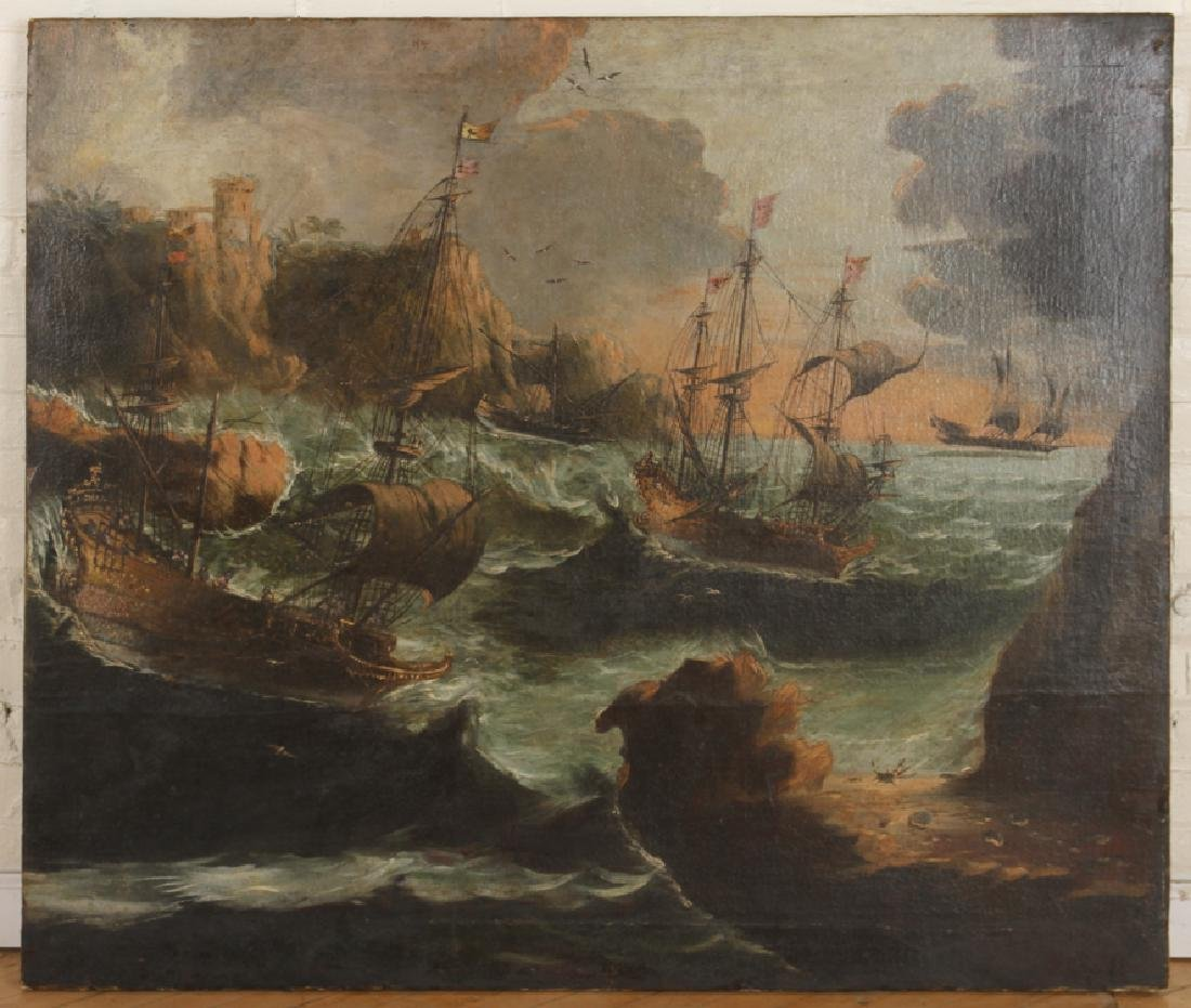 STORMY SEAS ANTIQUE OIL ON CANVAS