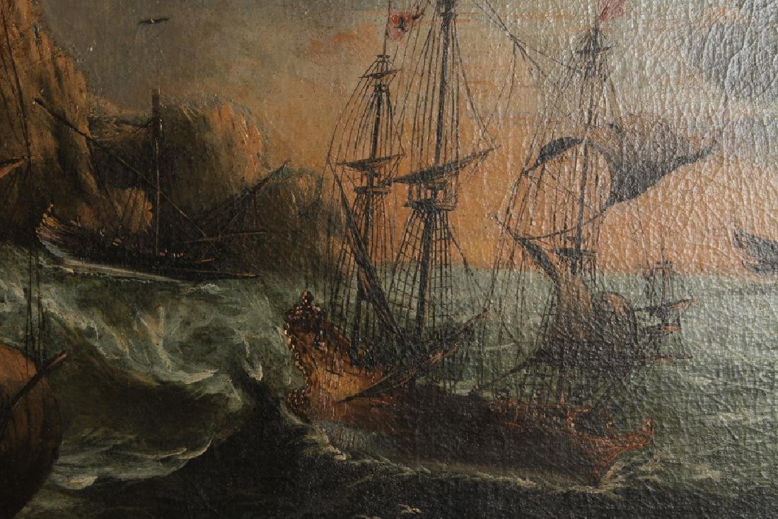 STORMY SEAS ANTIQUE OIL ON CANVAS - 3