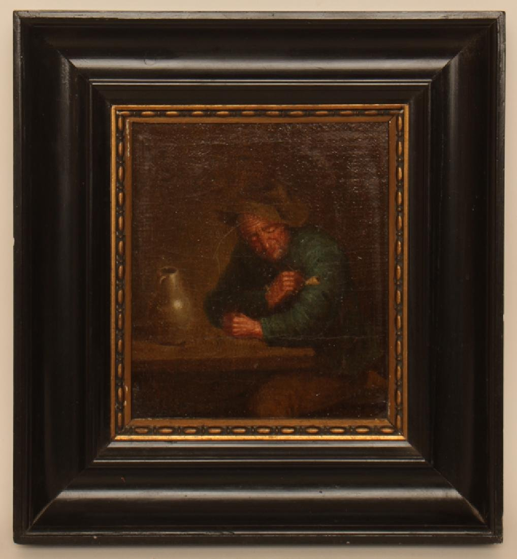 "DUTCH SCHOOL ""MAN WITH PIPE AND JUG"" OIL ON WOOD"