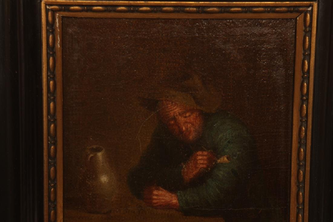 "DUTCH SCHOOL ""MAN WITH PIPE AND JUG"" OIL ON WOOD - 2"