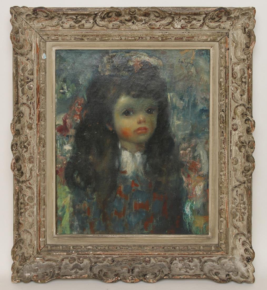 EARLY 20TH C. OIL ON CANVAS PAINTING YOUNG GIRL