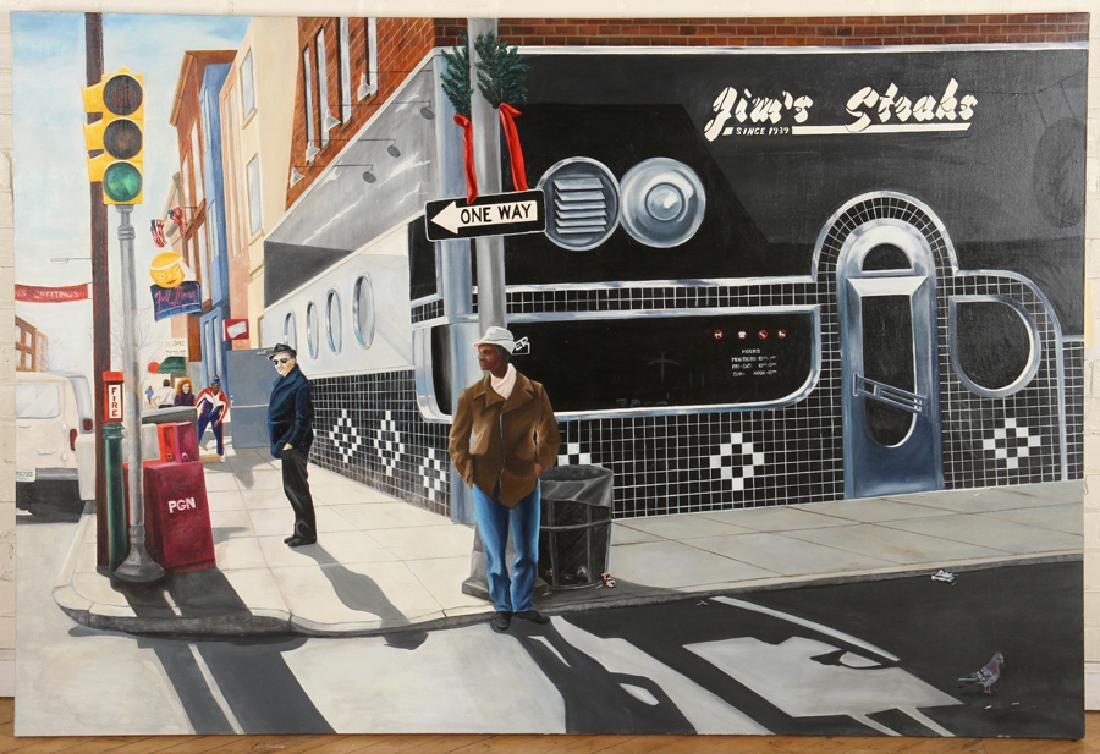 CONTEMPORARY OIL ON CANVAS JIM'S STEAKS IN PHILLY