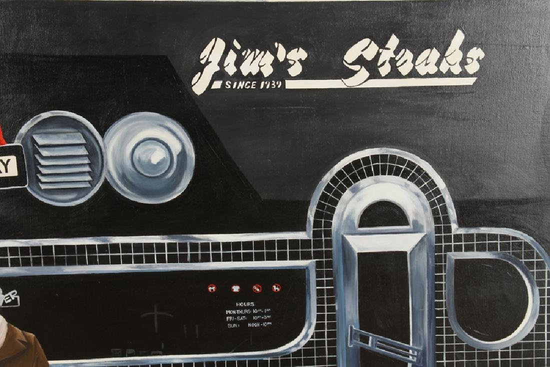 CONTEMPORARY OIL ON CANVAS JIM'S STEAKS IN PHILLY - 4