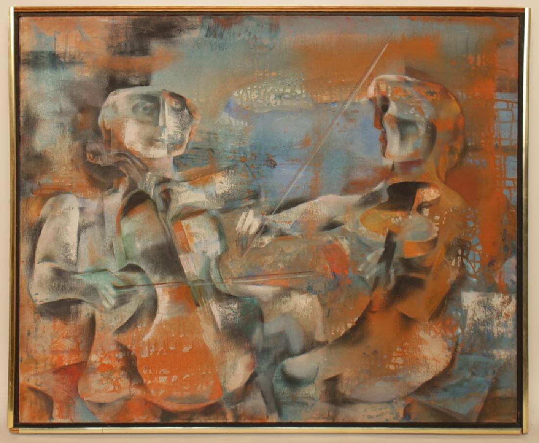 "JOSEPH WOLINS ""DUET II"" OIL ON CANVAS"