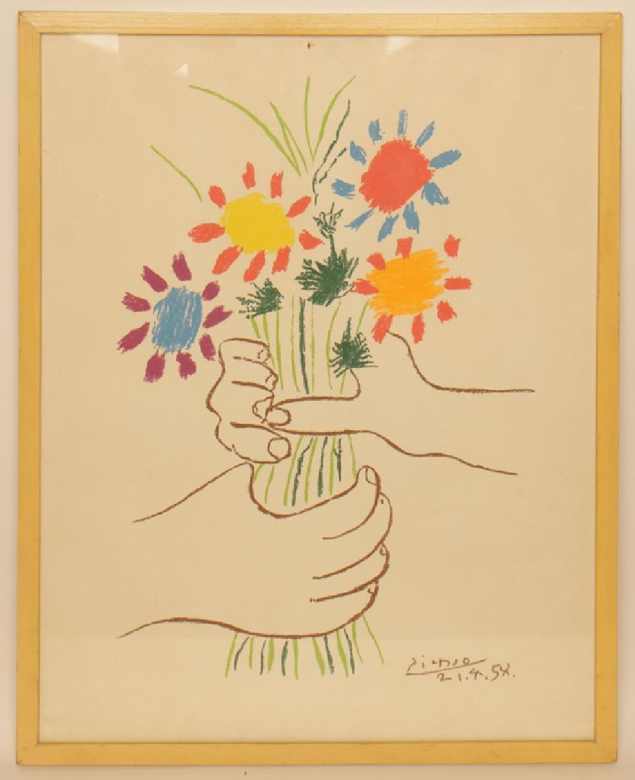 "PABLO PICASSO ""HANDS HOLDING FLOWERS"" LITHOGRAPH"