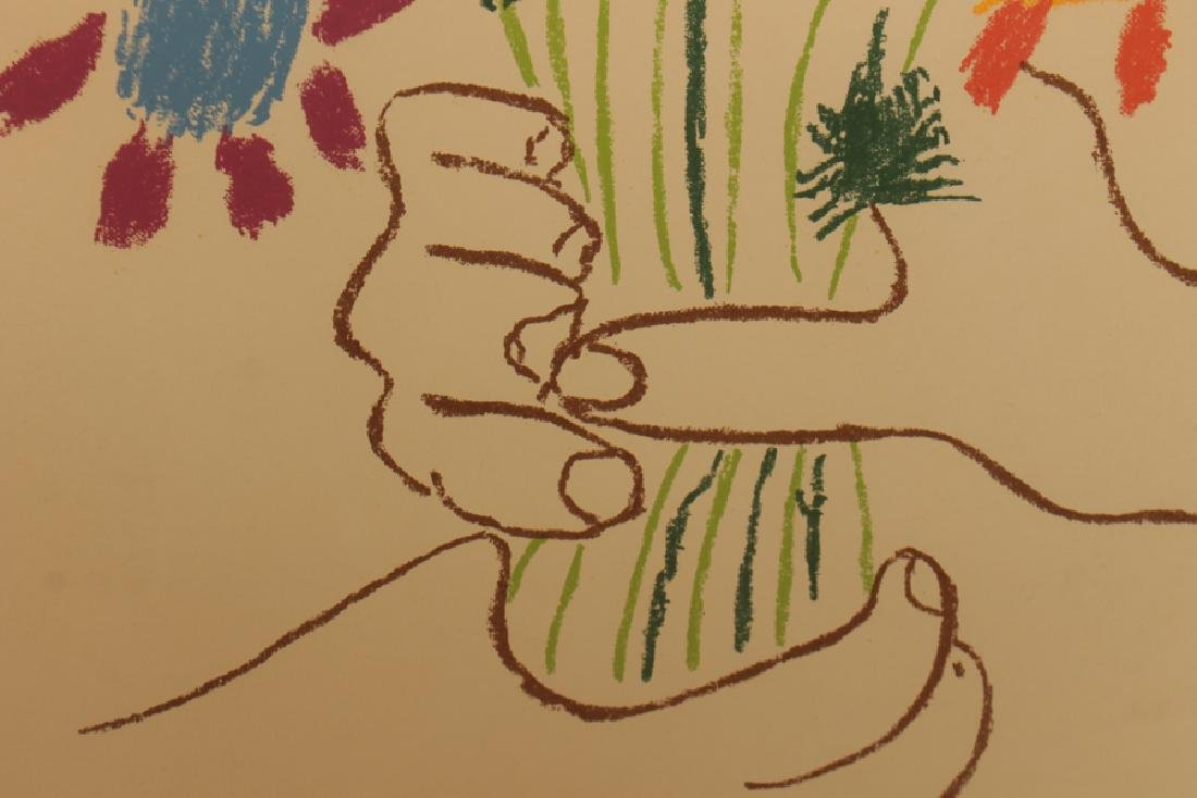 "PABLO PICASSO ""HANDS HOLDING FLOWERS"" LITHOGRAPH - 3"