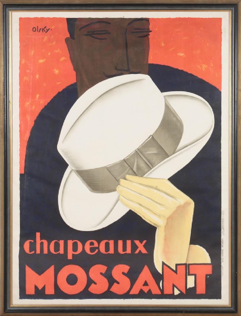 VINTAGE CHAPEAUX MOSSANT ADVERTISEMENT POSTER