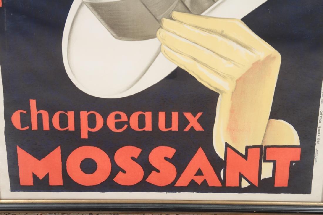 VINTAGE CHAPEAUX MOSSANT ADVERTISEMENT POSTER - 4