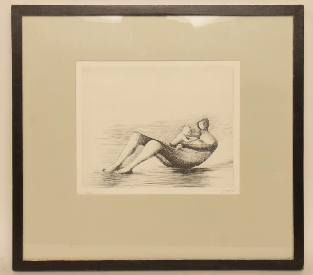 "HENRY MOORE ""MOTHER AND CHILD"" ETCHING SIGNED"