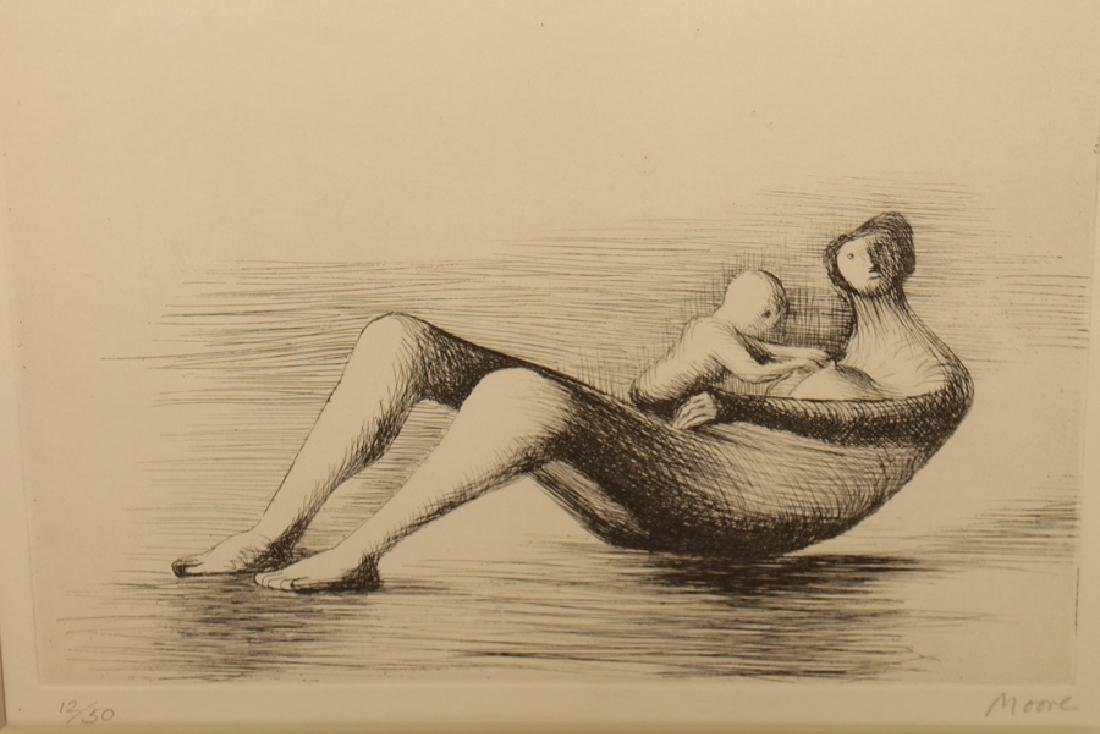 "HENRY MOORE ""MOTHER AND CHILD"" ETCHING SIGNED - 2"