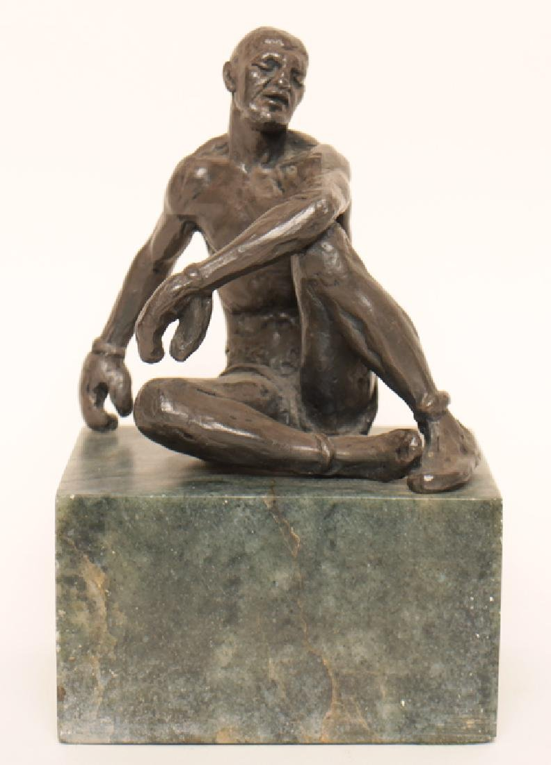 "JOSPEH BROWN ""SEATED BOXER"" BRONZE STATUE"